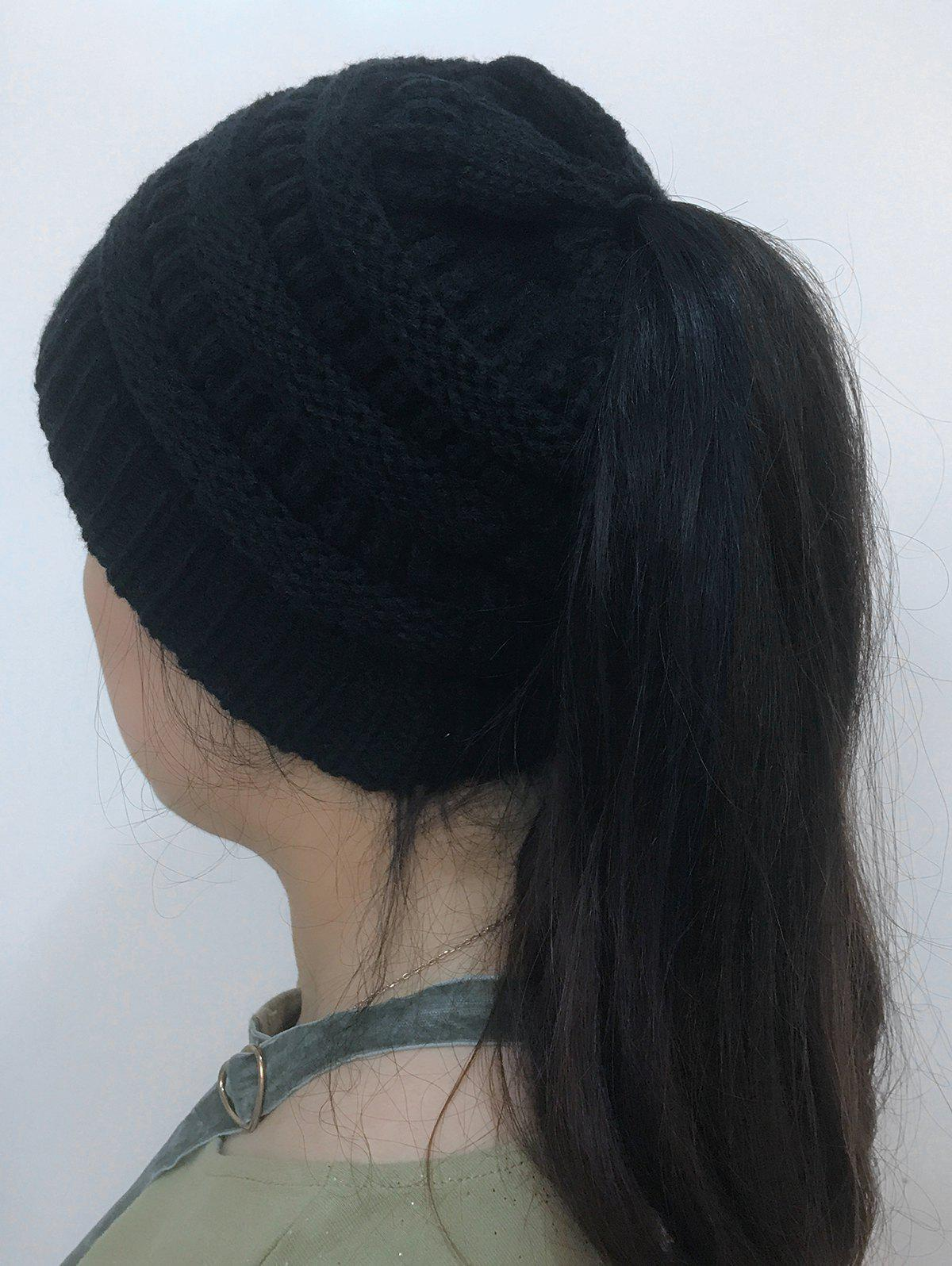 Open Top Mixcolor Knitted Hat - BLACK