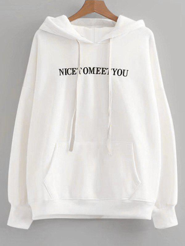 Letter Embroidered Oversized Drawstring Hoodie - WHITE ONE SIZE