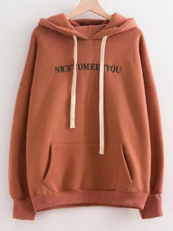 Letter Embroidered Oversized Drawstring Hoodie - COFFEE BROWN ONE SIZE