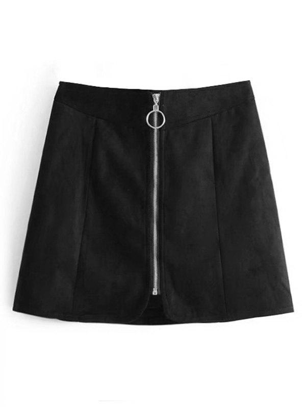 Faux Suede Zip Up A Line Skirt faux leather pleated a line skirt