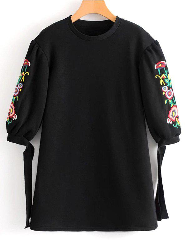 Floral Embroidered Bow Tied Sleeve Mini Dress - BLACK M