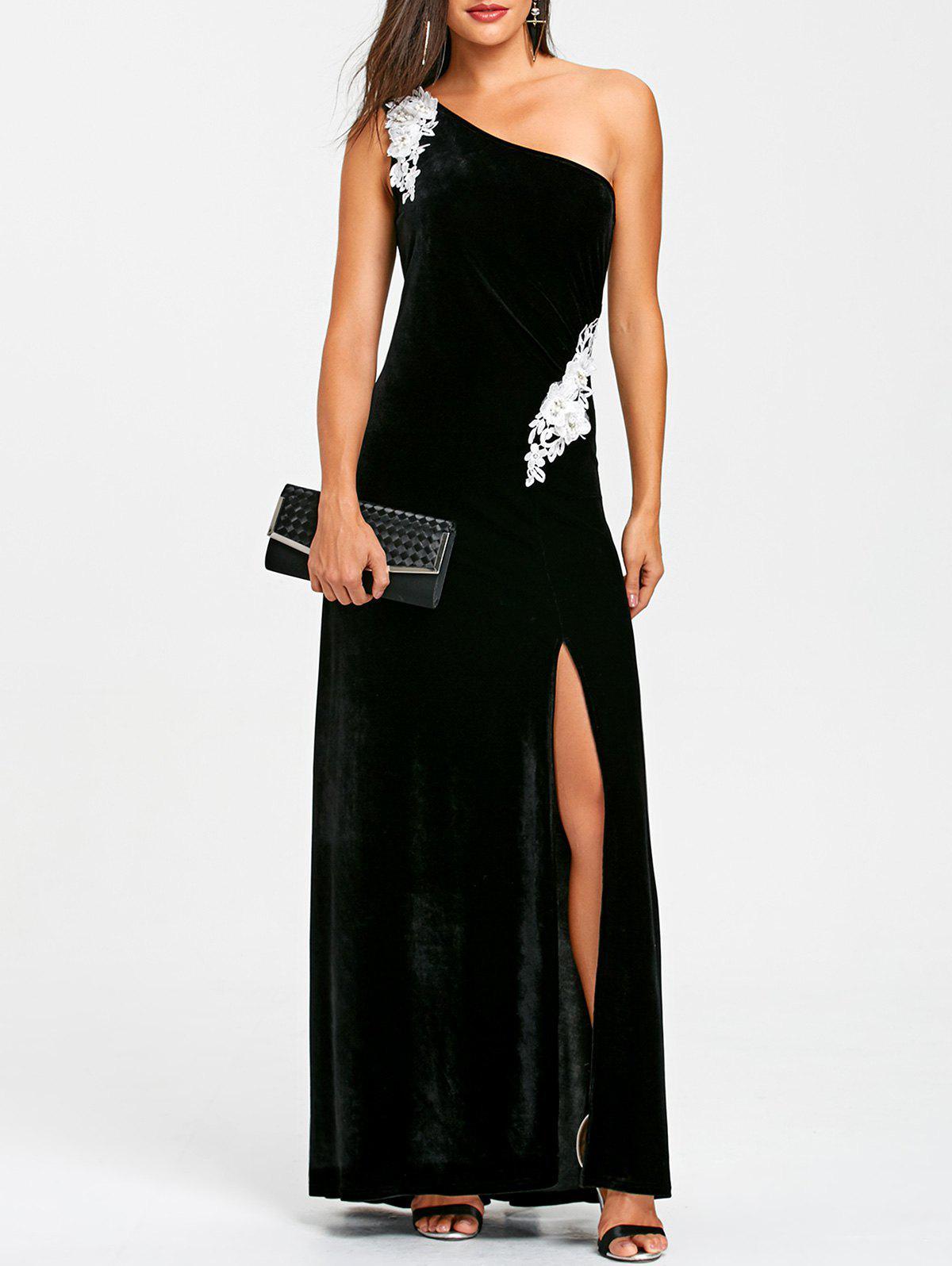 Applique One Shoulder Formal Dress - BLACK XL