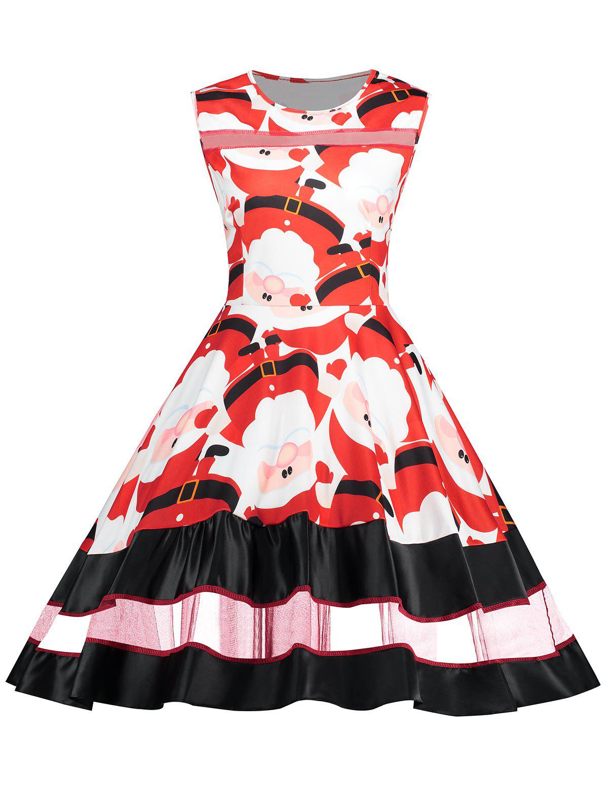 Mesh Panel Santa Claus Swing Party Dress music note party swing dress