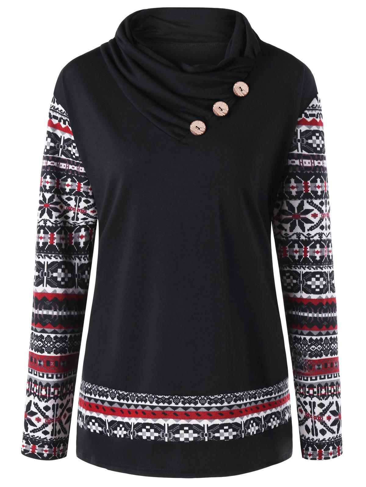 Plus Size Button Embellished Heaps Collar T-shirt - BLACK 4XL