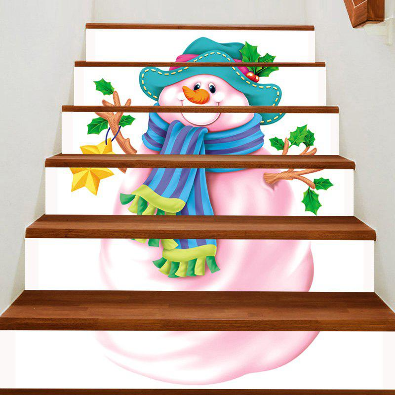 Pink Snowman Patterned Stair Art Stickers - PINK 100*18CM*6PCS