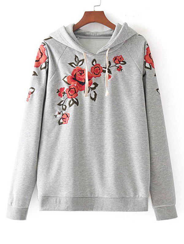 Floral Embroidered Drawstring Loose Hoodie - GRAY L