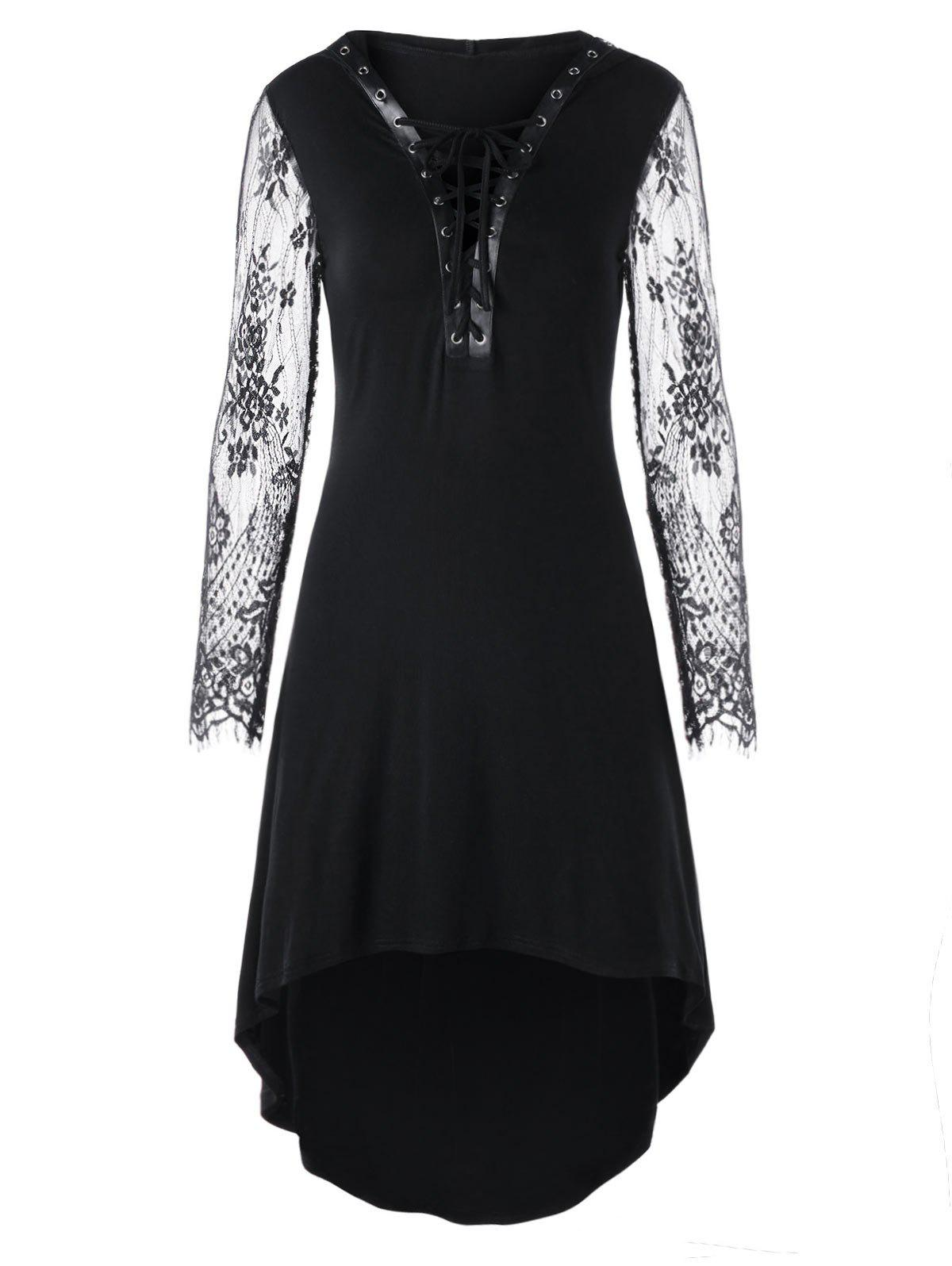 Lace Up Hooded High Low Hem Dress - BLACK 2XL