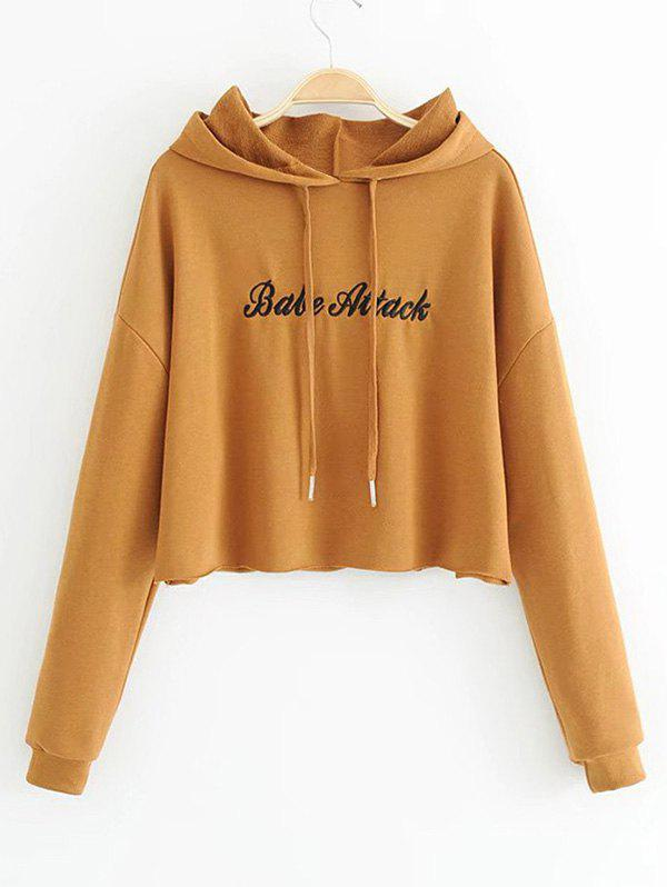 Letter Embroidered Cropped Hoodie - SUGAR HONEY S