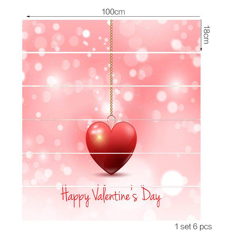 Valentine Theme Hanging Heart Pattern Removable Stair Stickers - PINK 100*18CM*6PCS