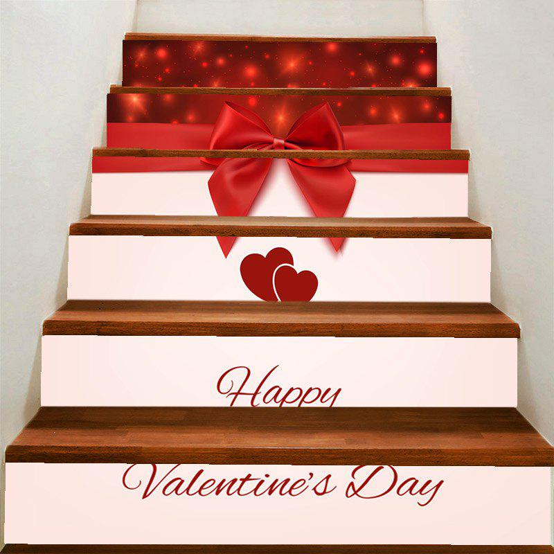 Valentine's Day Lovers Heart and Bowknot Pattern Home Decals Stair Stickers - COLORFUL 100*18CM*6PCS