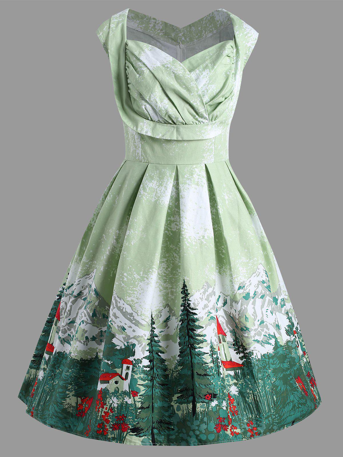 Christmas Vintage Forest Print Ruched Plus Size Dress - LIGHT GREEN 5XL