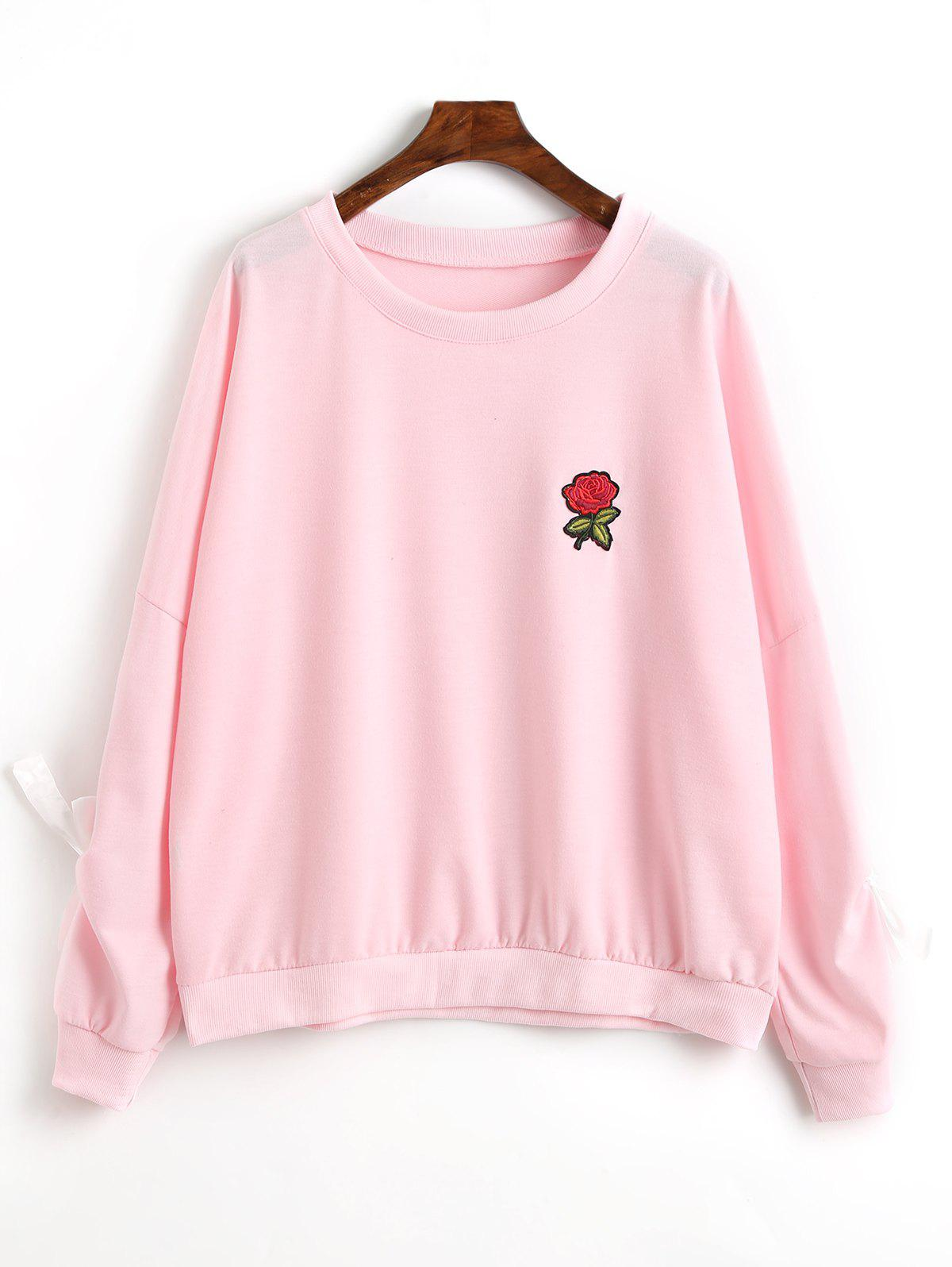 Sweat-shirt à Applique Floral Décoratif - ROSE PÂLE S