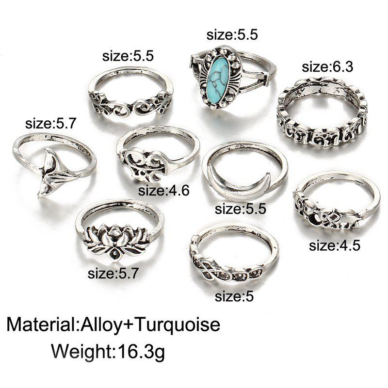 Faux Turquoise Mermaid Tail Elephant Ring Set - SILVER