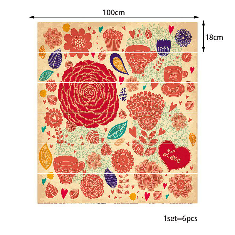 6 Pieces Flourishing Flower Stair Stickers - RED 100*18CM*6PCS