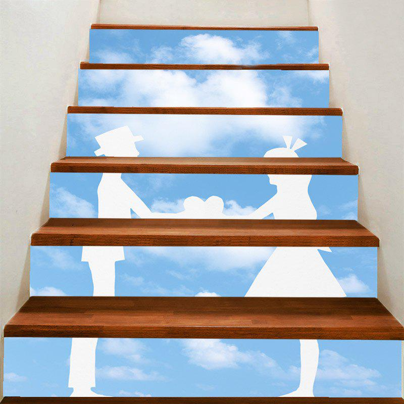 Blue Sky and Lovers Pattern Decorative Stair Stickers - GREY/WHITE 100*18CM*6PCS