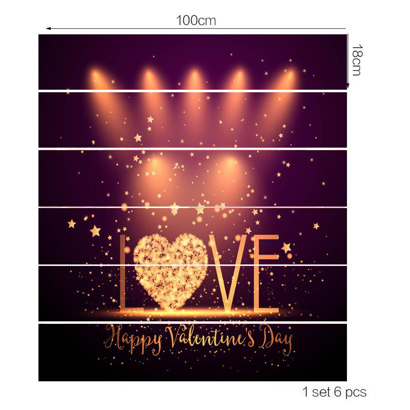 Valentine's Day Love Stage Pattern Home Decor Removable Stair Stickers - COLORFUL 100*18CM*6PCS