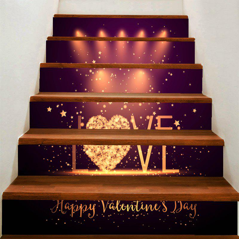 Valentin Love Stage Pattern Home Decor Amovible Escaliers Autocollants - coloré 100*18CM*6PCS