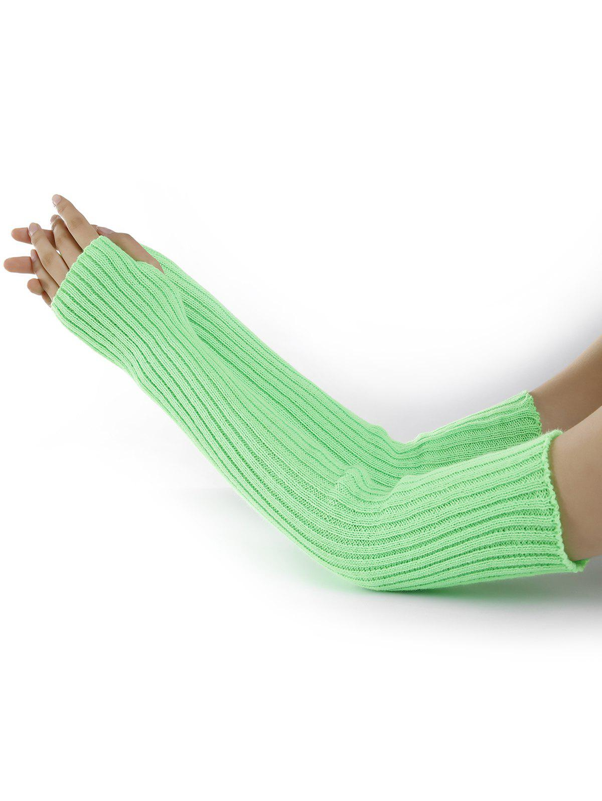 Soft Vertical Striped Pattern Crochet Knitted Arm Warmers - GREEN