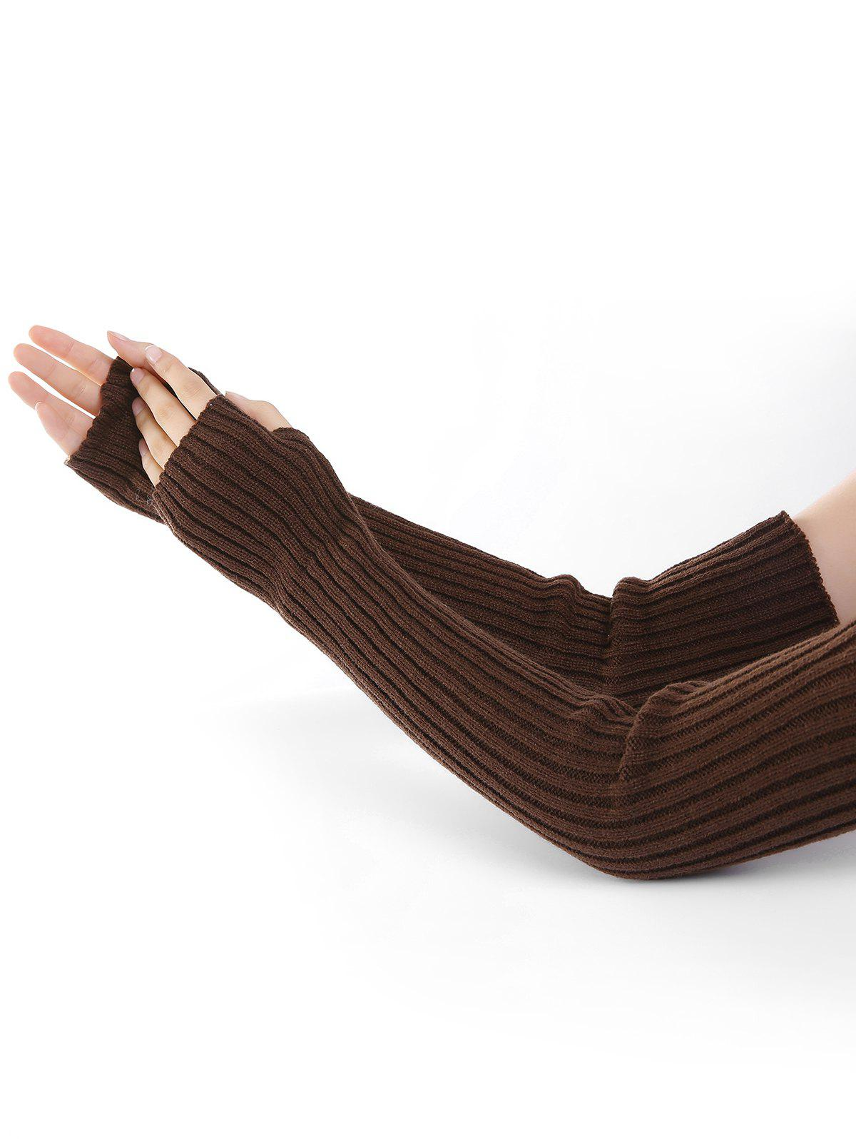 Soft Vertical Striped Pattern Crochet Knitted Arm Warmers - COFFEE