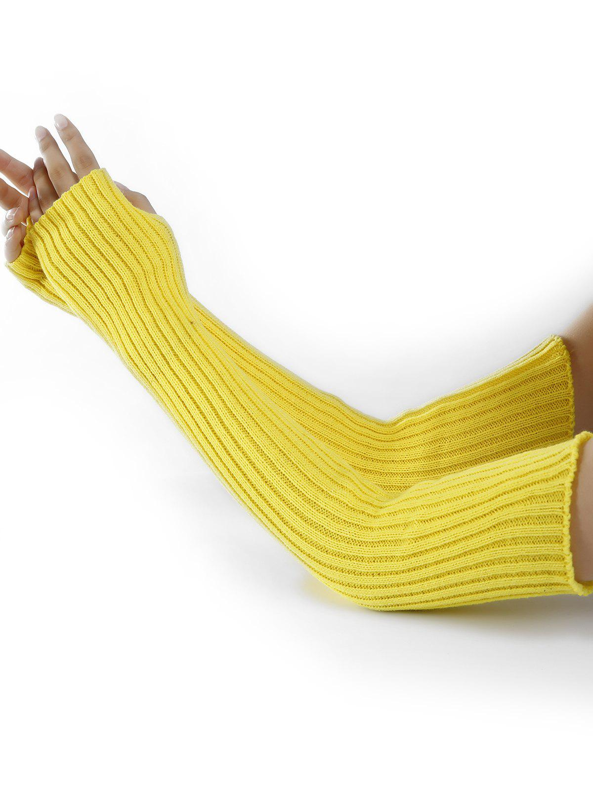Soft Vertical Striped Pattern Crochet Knitted Arm Warmers - FLUORESCENT YELLOW