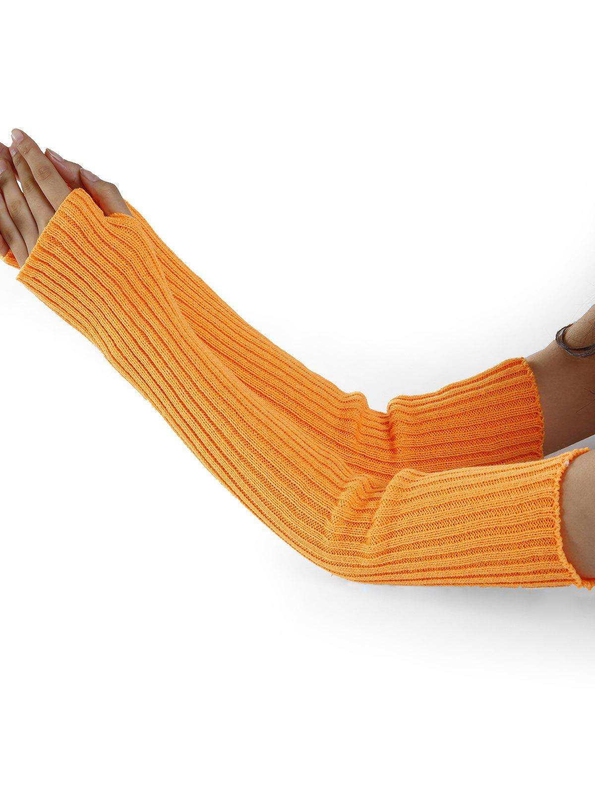 Soft Vertical Striped Pattern Crochet Knitted Arm Warmers - PEARL KUMQUAT