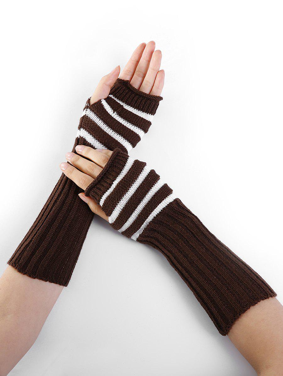 Striped Pattern Knitted Exposed Finger Gloves simplicity wholesale 2pr set knitted touchscreen gloves