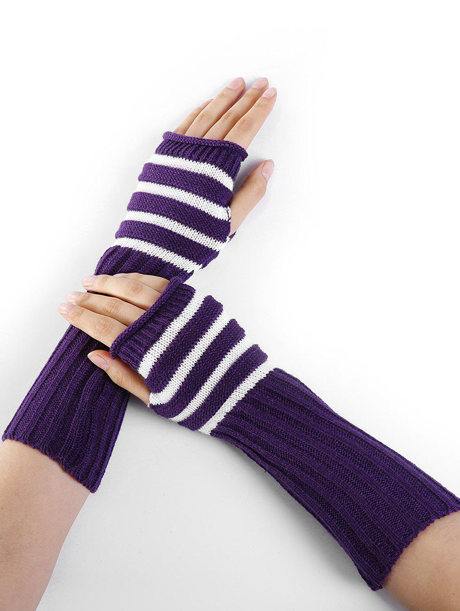 Striped Pattern Knitted Exposed Finger Gloves - PURPLE