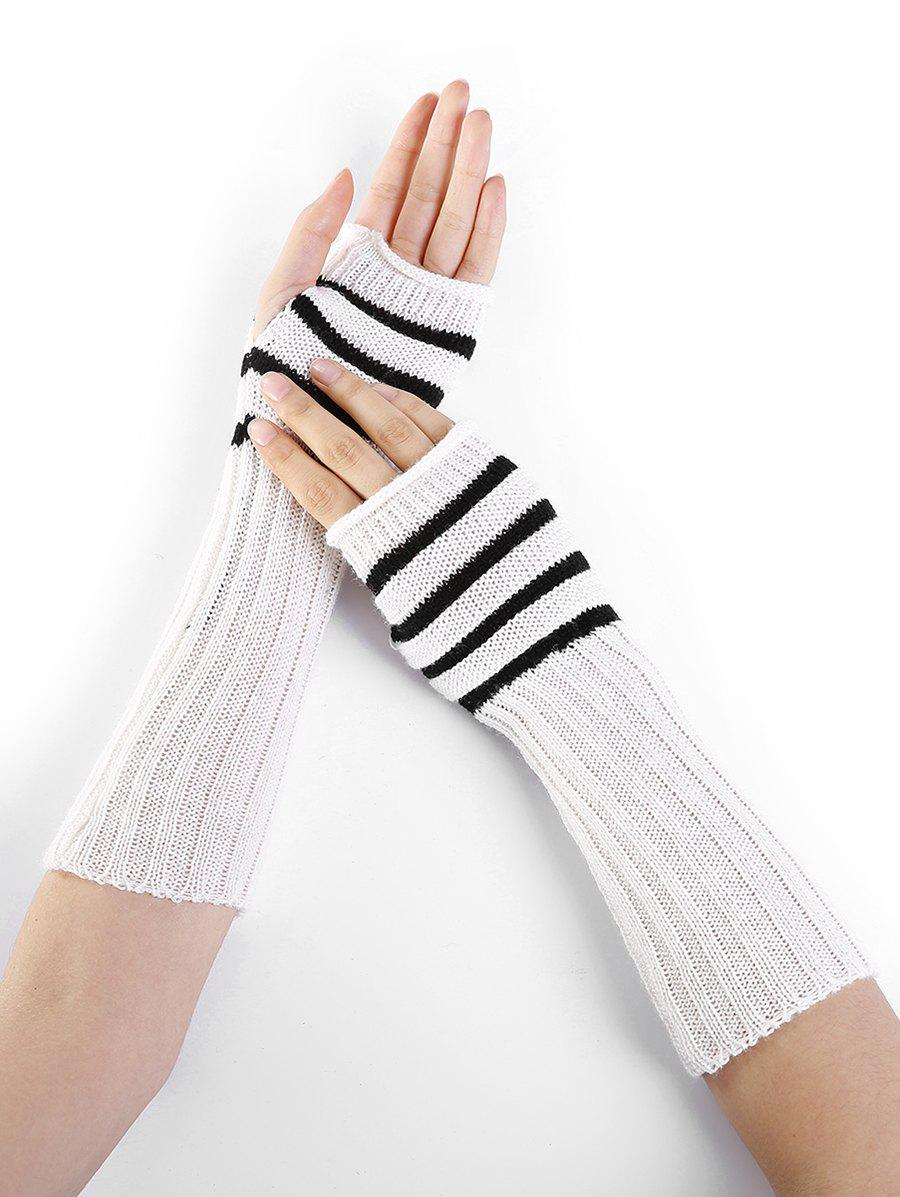 Striped Pattern Knitted Exposed Finger Gloves - WHITE