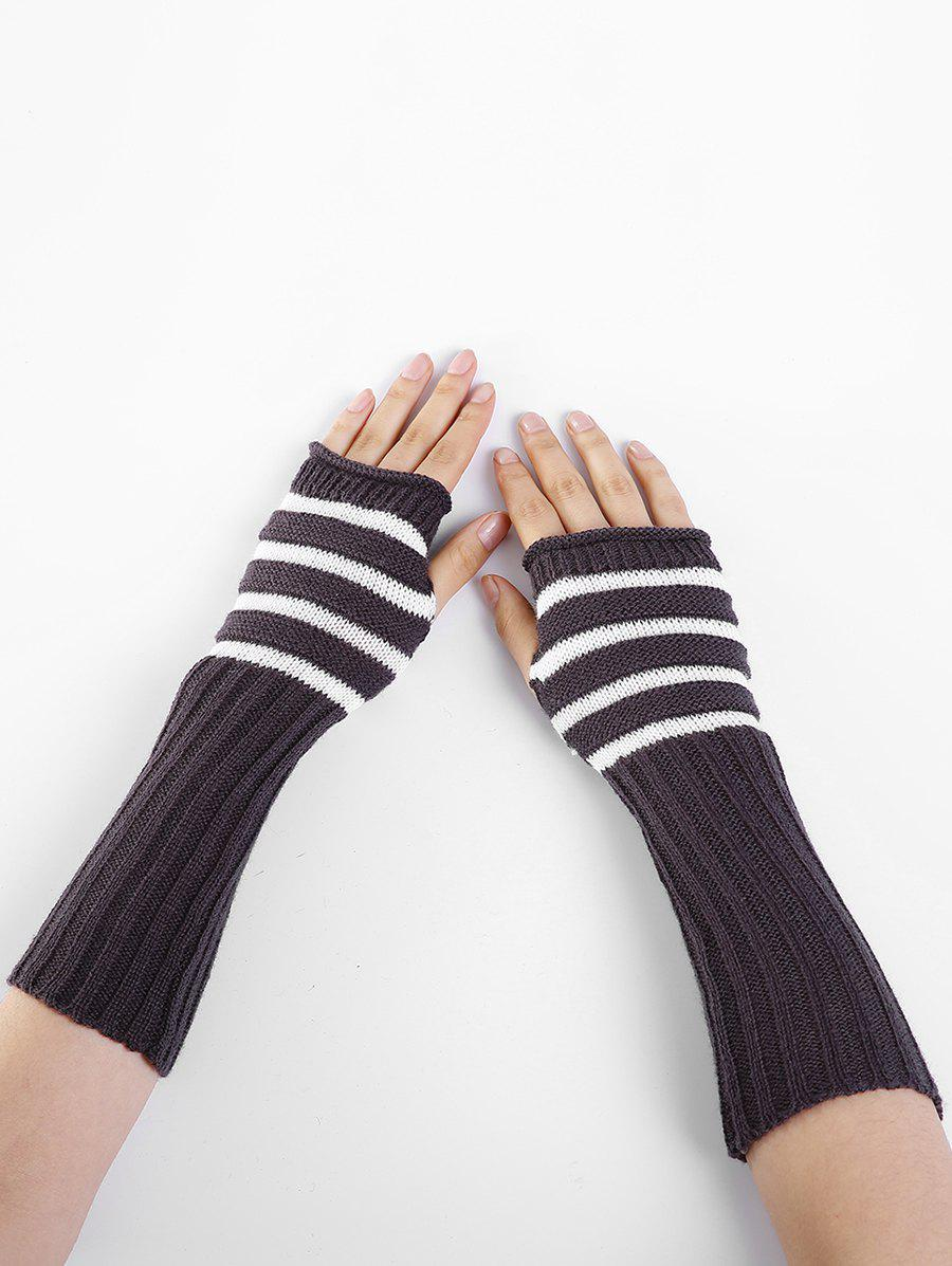 Striped Pattern Knitted Exposed Finger Gloves - ESPRESSO