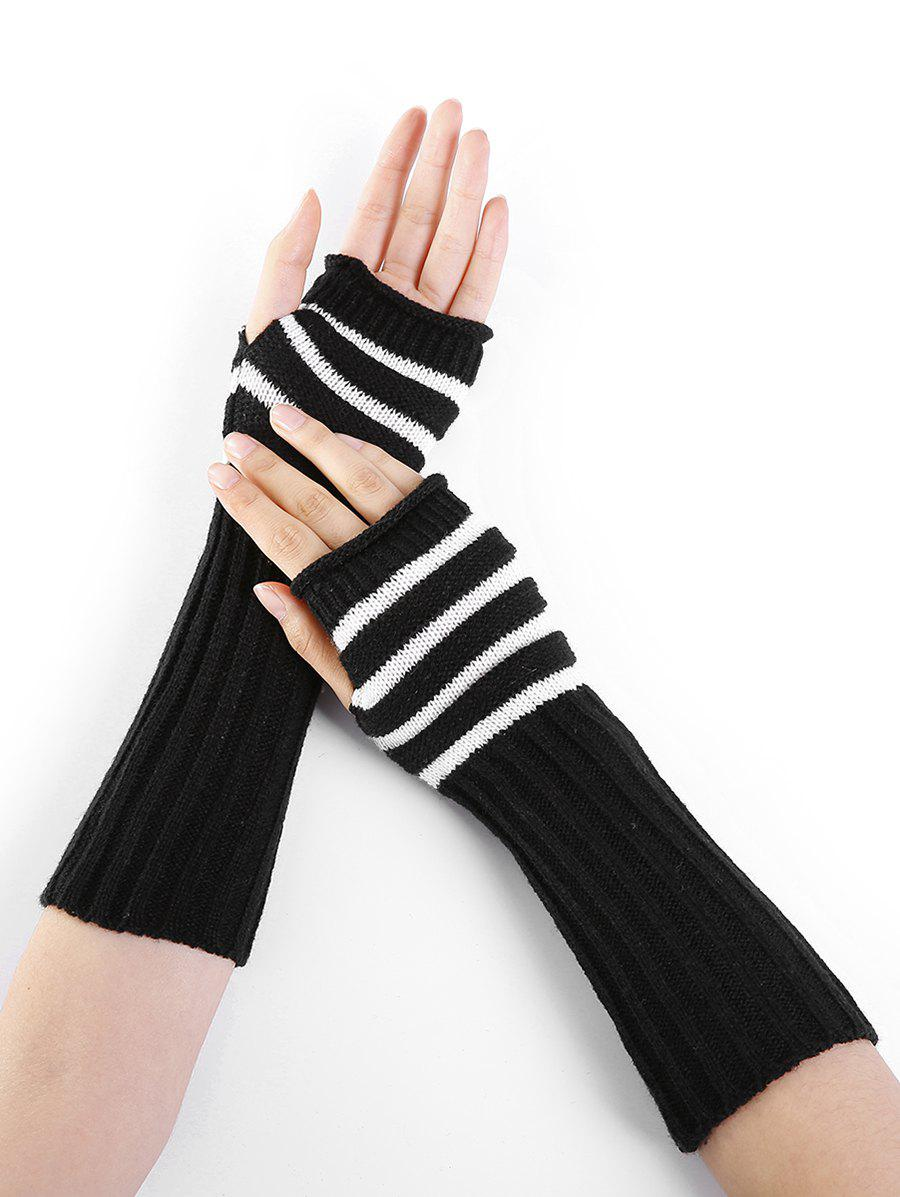 Striped Pattern Knitted Exposed Finger Gloves - BLACK