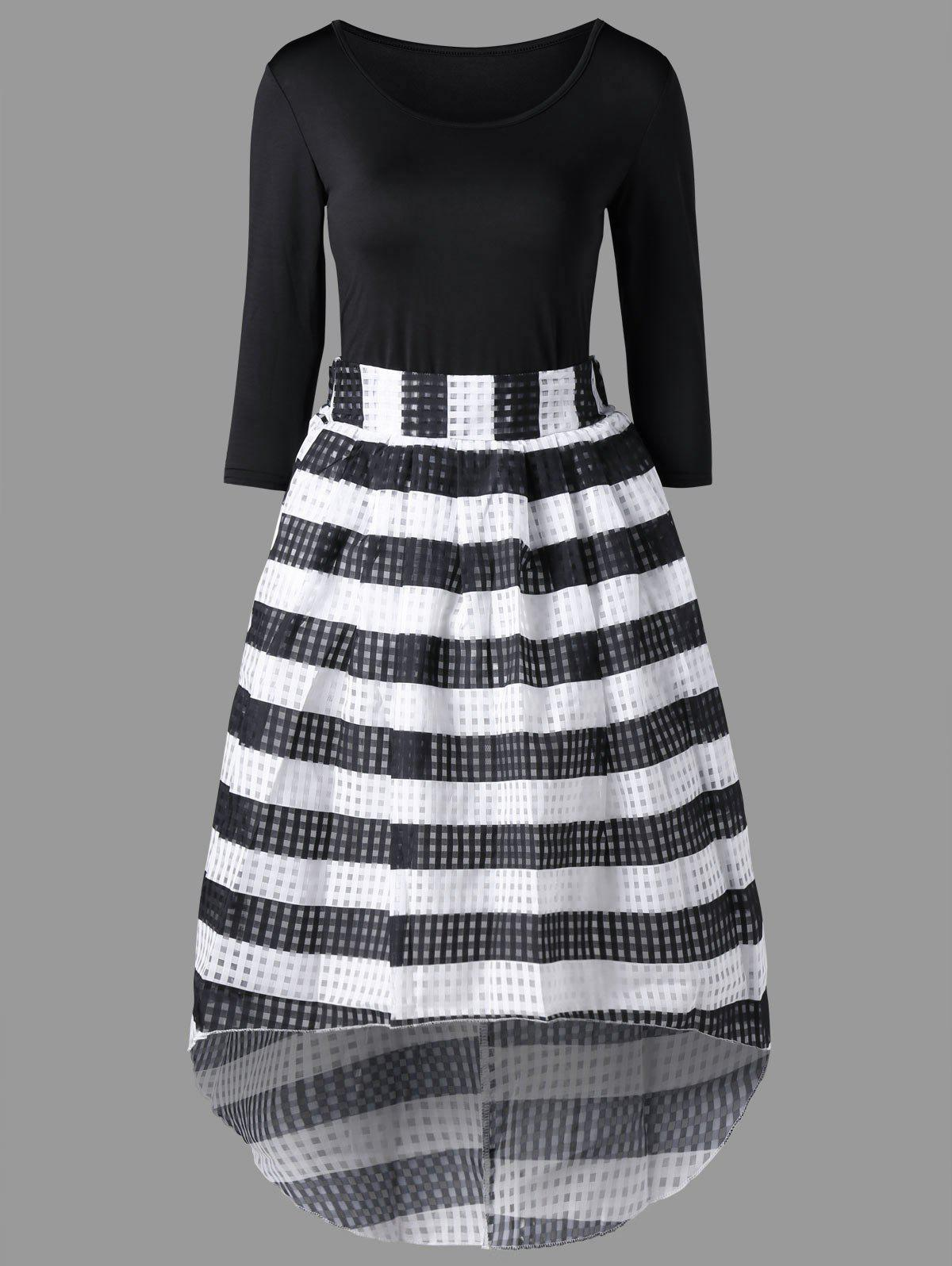 Tee with Striped Dip Hem Skirt - BLACK XL