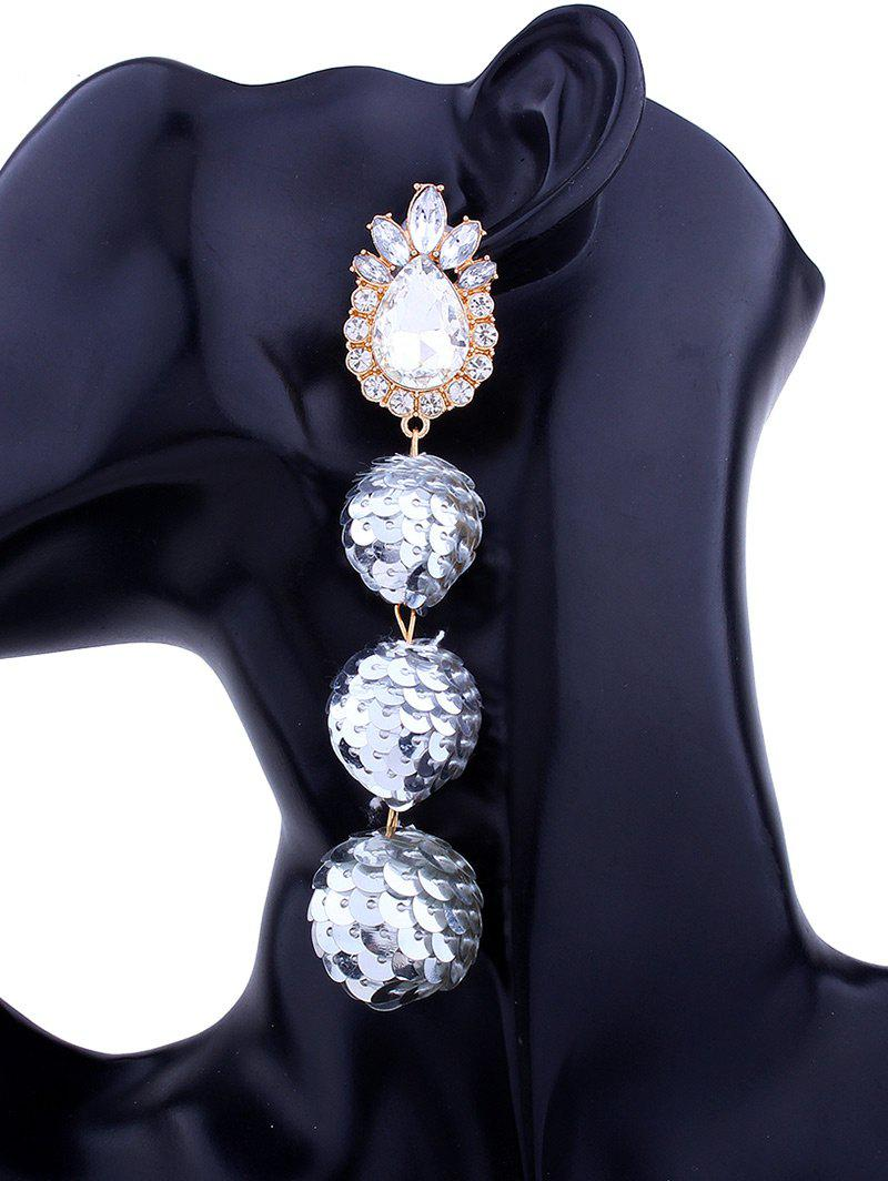 Sparkly Faux Gem Teardrop Sequins Ball Earrings - SILVER