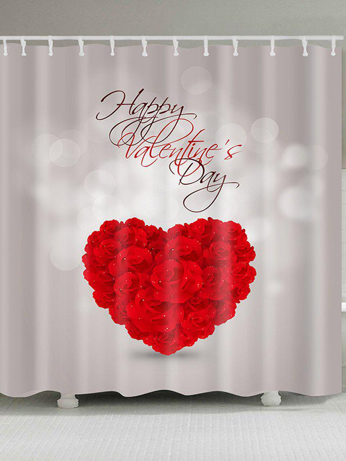 Rosed Heart Valentine's Day Waterproof Shower Curtain - RED W71 INCH * L79 INCH