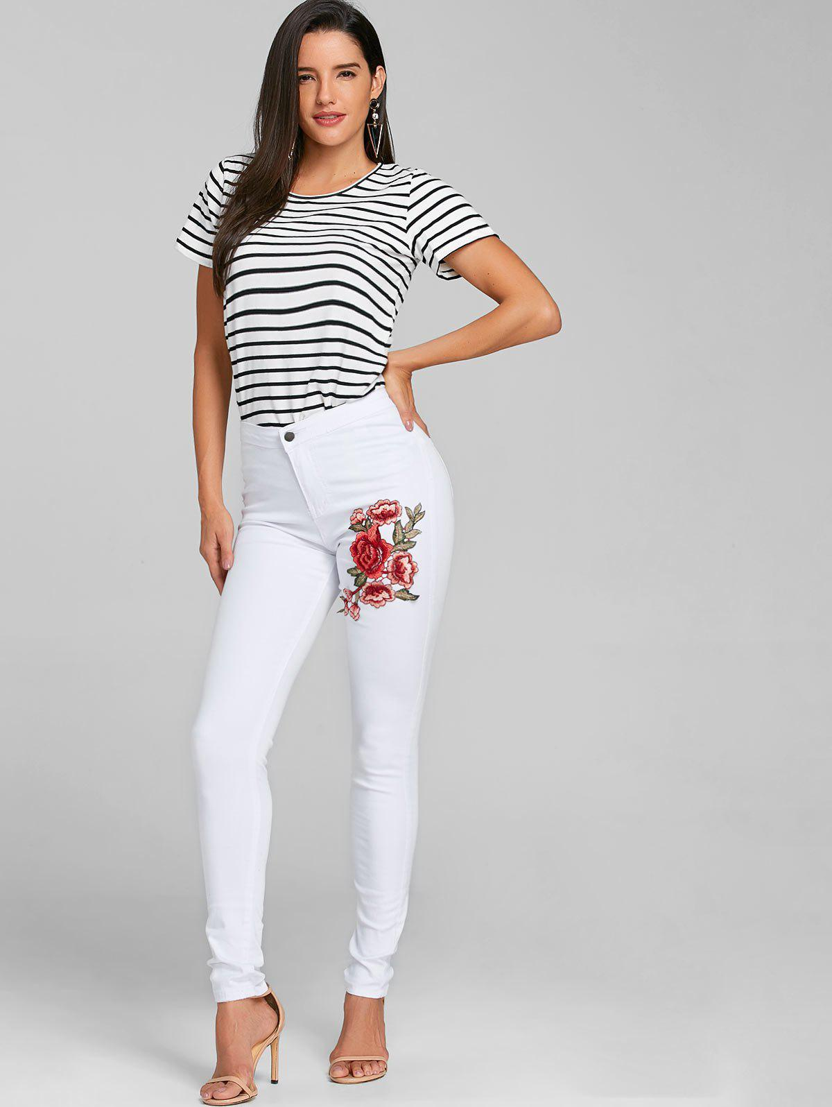 Flower Embroidered Skinny Colored Jeans - WHITE M