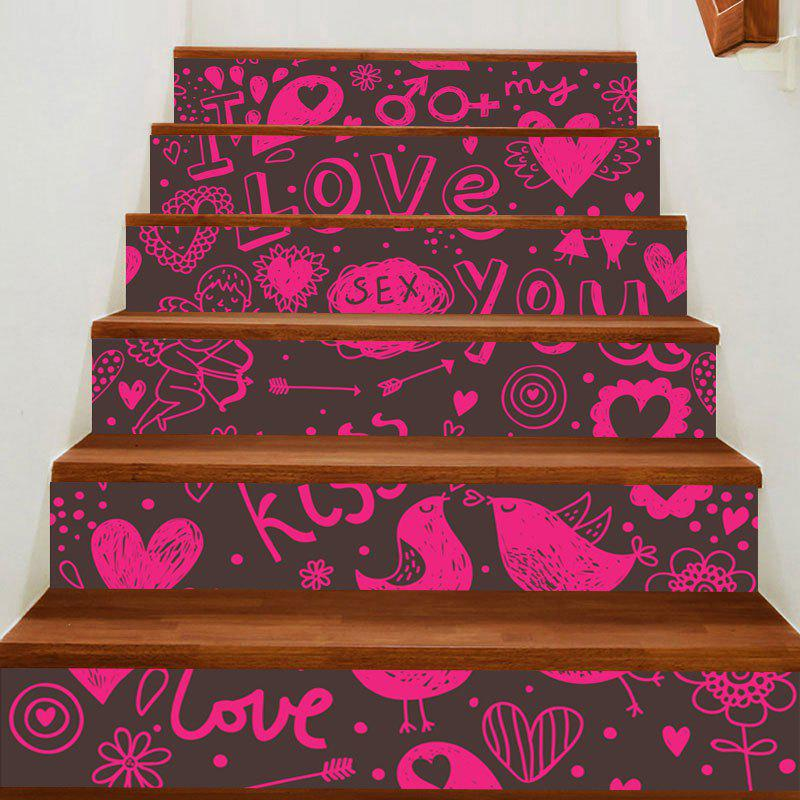 Valentine's Day Love Theme Printed Home Decor Stair Stickers - WATER RED 100*18CM*6PCS