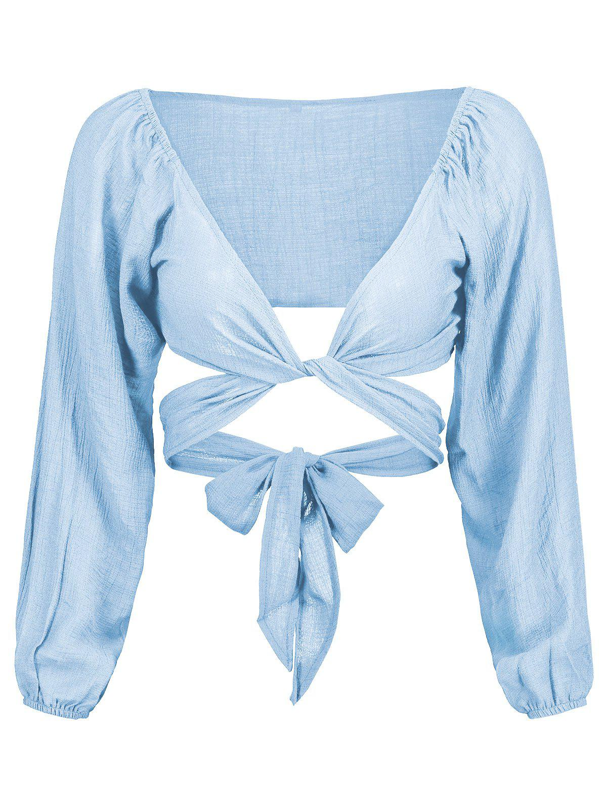 Plunging Neck Self Tie Crop Blouse self tie solid blouse