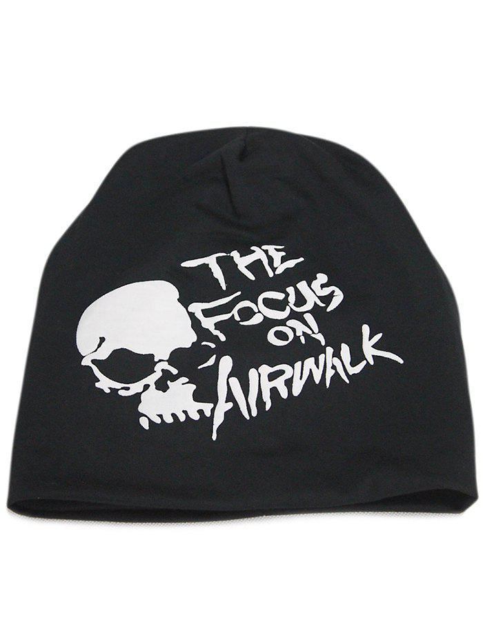 Soft Skull and Letter Pattern Embellished Slouchy Beanie - BLACK