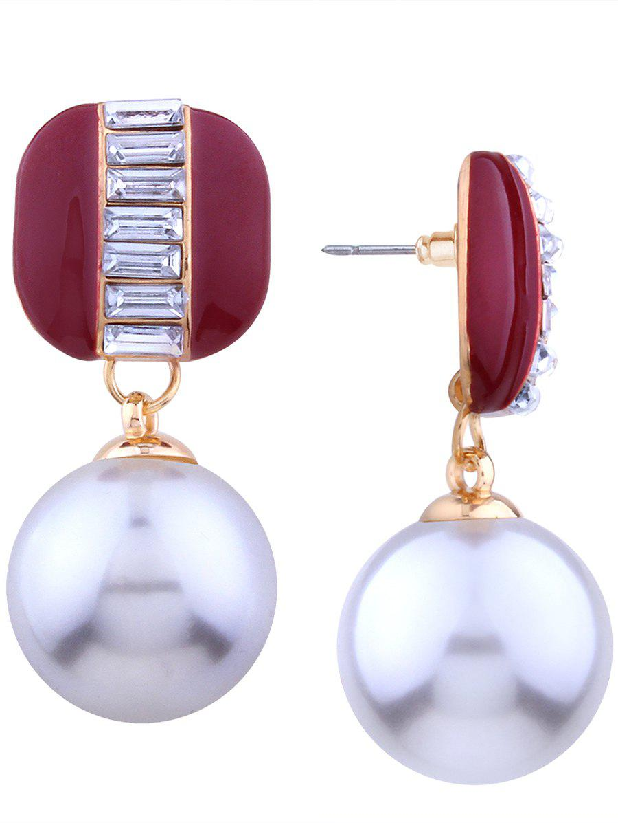 Rhinestone Alloy Faux Pearl Earrings faux opal geometric earrings