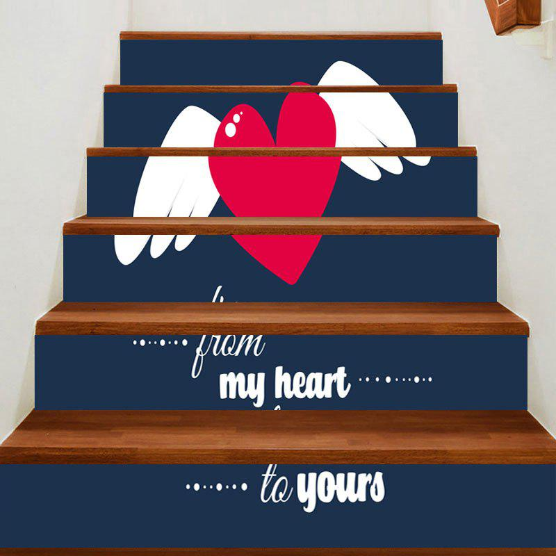 Valentine's Day Heart with Wings Print Home Ornament Stair Stickers - COLORFUL 100*18CM*6PCS