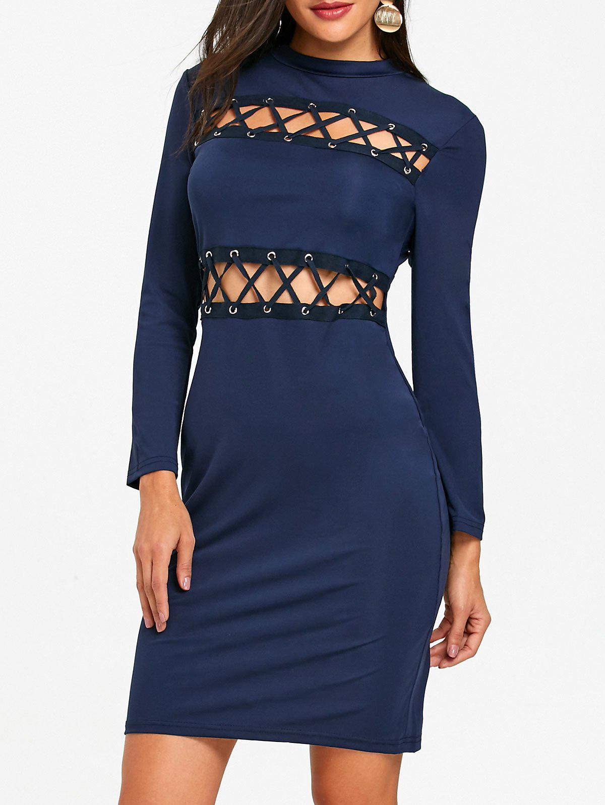 Tight Lace Up Hollow Out Club Dress - PURPLISH BLUE M