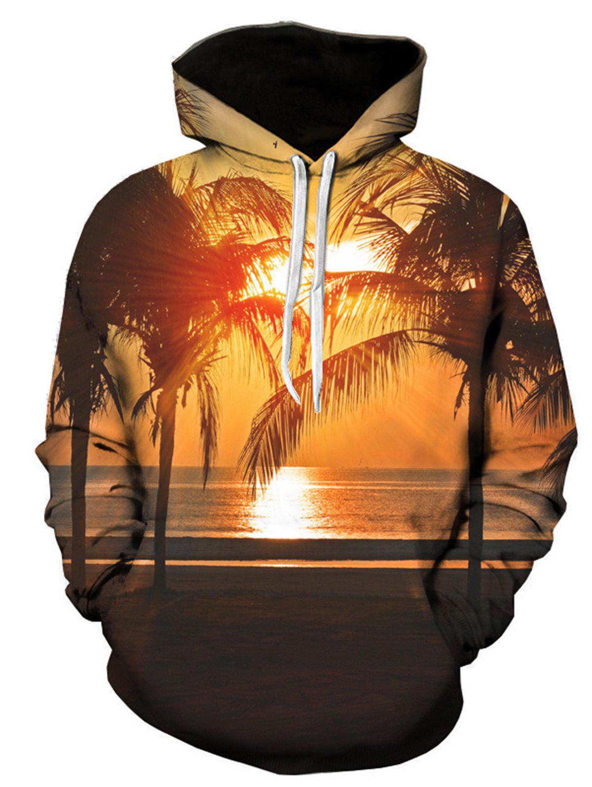 Trees Sunset 3D Print Pullover Hoodie flame trees of thika