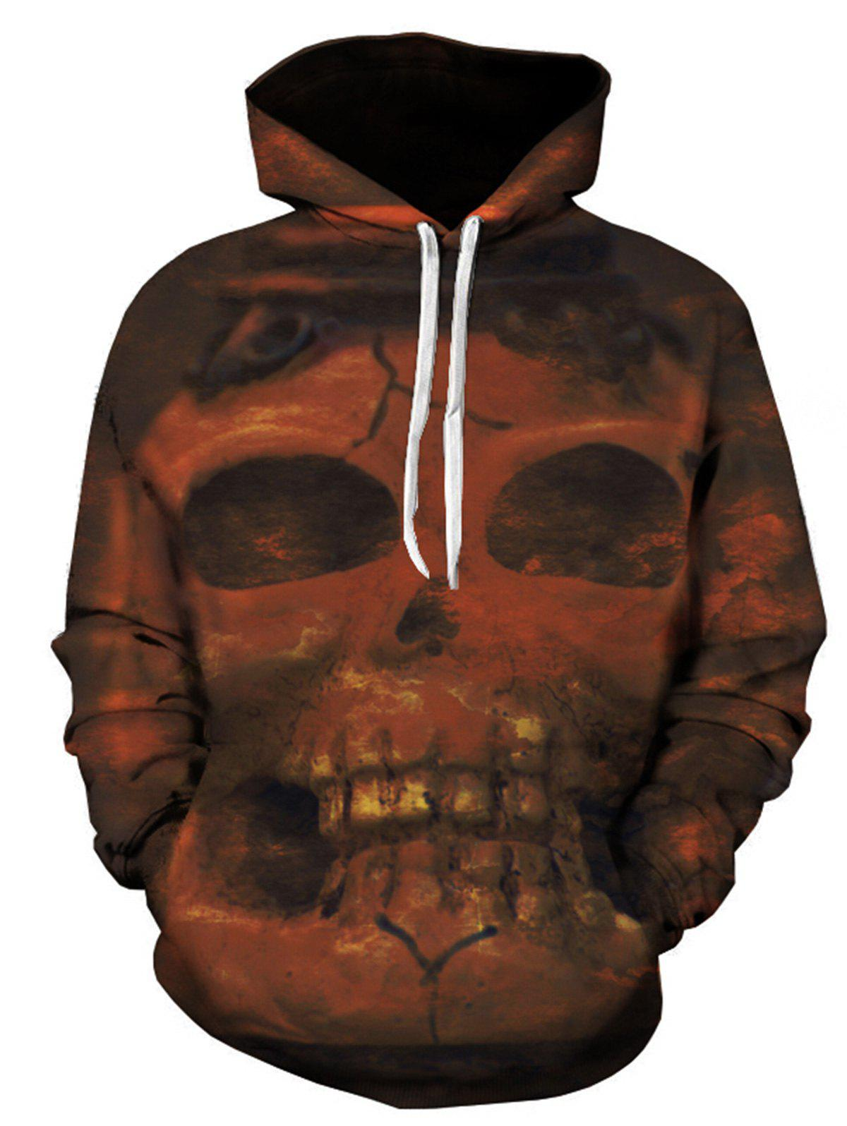 Sweat à Capuche Imprimé Crâne 3D - multicolore 2XL