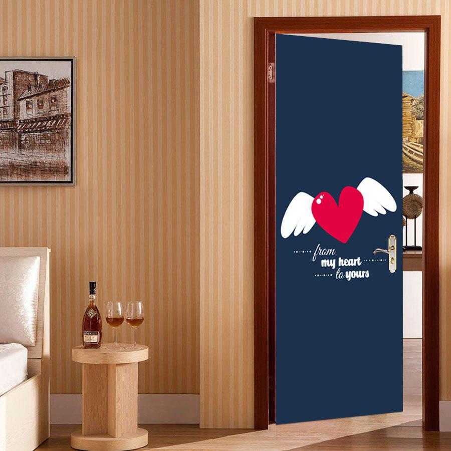Heart Wings Pattern Valentines Day Door Stickers - COLORMIX 38.5*200CM*2PCS