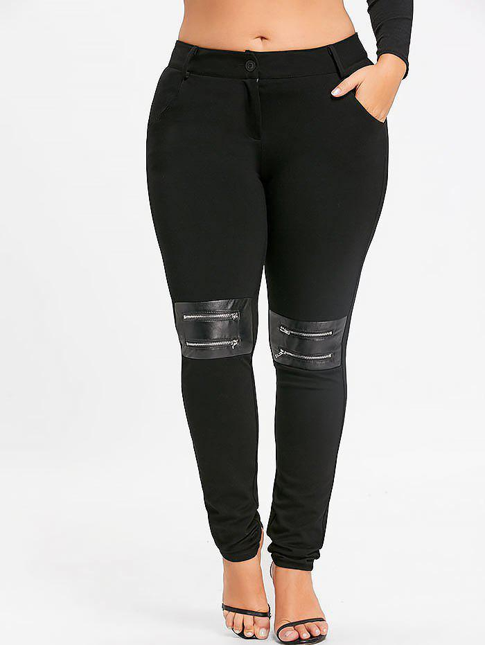 Plus Size Zippers Embellished Fitted Pants - BLACK 5XL