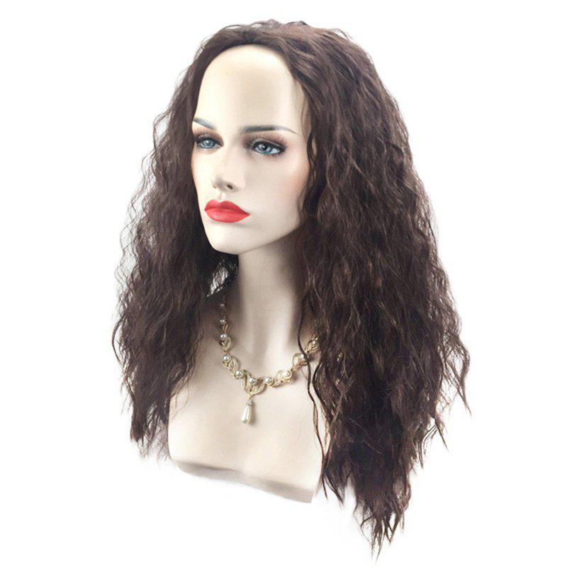Long Fluffy Water Wave Marine Romance Moana Cosplay Synthetic Wig - BLACK BROWN