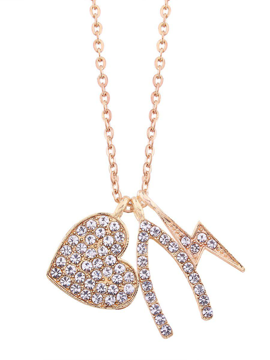 Rhinestone Heart Lightning Chain Pendant Necklace rhinestone heart chain pendant necklace