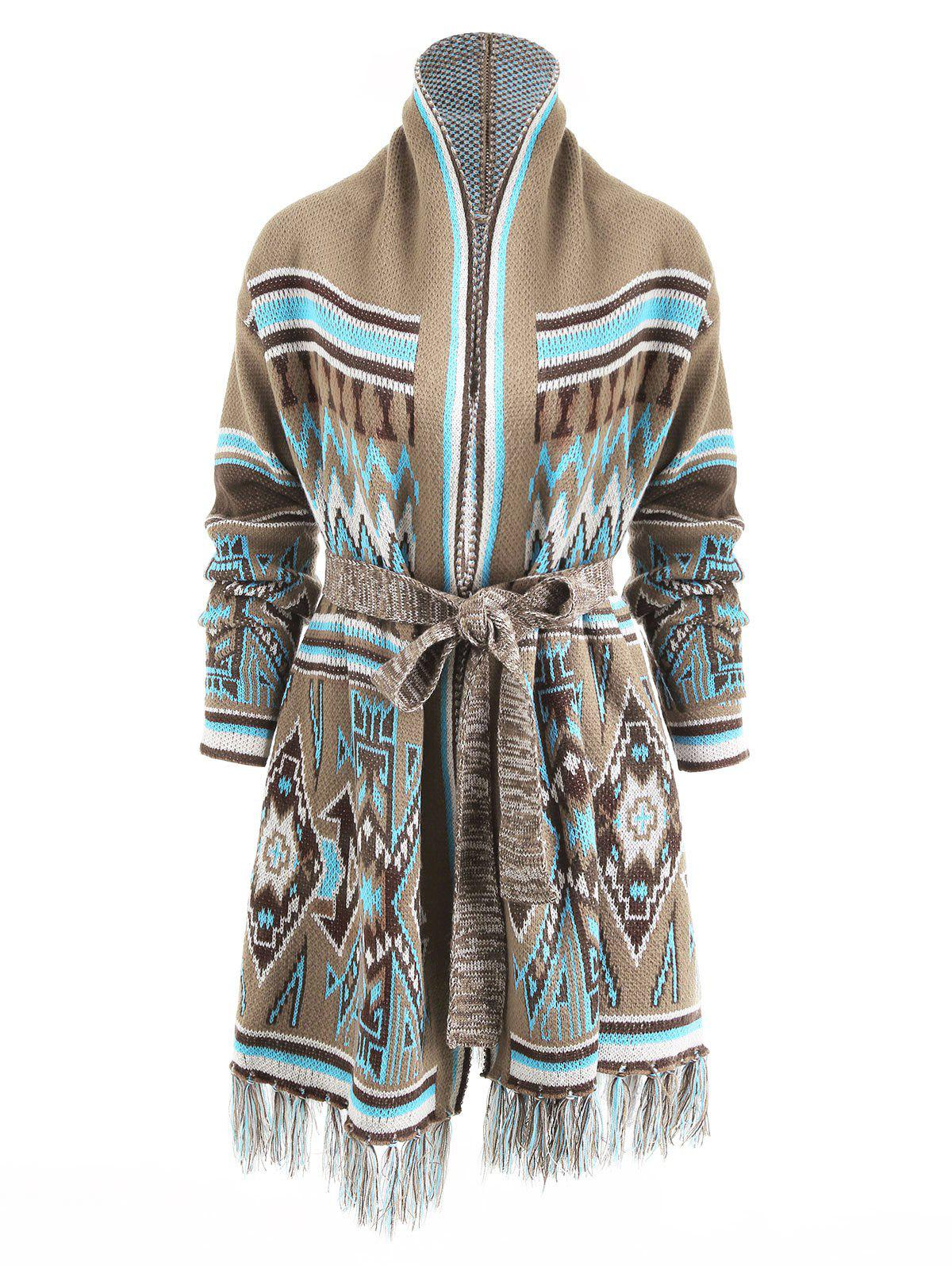 Aztec Geometric Fringed Knit Tunic Cardigan - COLORMIX 2XL