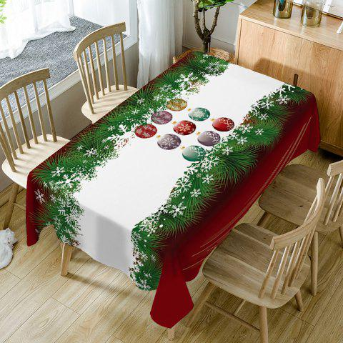 Christmas Baubles Pine Print Waterproof Table Cloth - COLORMIX W60 INCH * L84 INCH