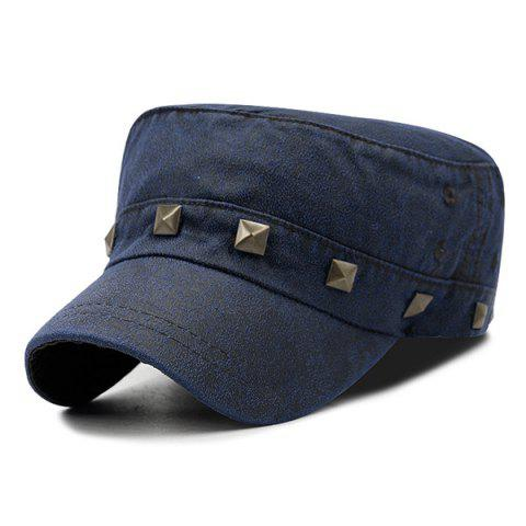 Outdoor Square Rivet Decoration Dyed Washed Military Hat - CERULEAN