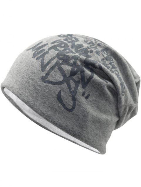Simple Letter Printing Hip Hop Slouchy Beanie - LIGHT GREY